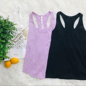 BUNDLE of Lululemon Tank Tops Lavender + Black 6